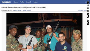 One of the photos posted on Facebook shows smiling doctors holding soldiers' guns.
