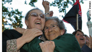 Women whose children disappeared in the last military dictatorship celebrate Bordaberry's detention in 2006.