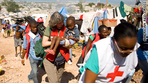 Red Cross volunteer Winnie Romeril at a refugee camp in Port-au-Prince, Haiti.
