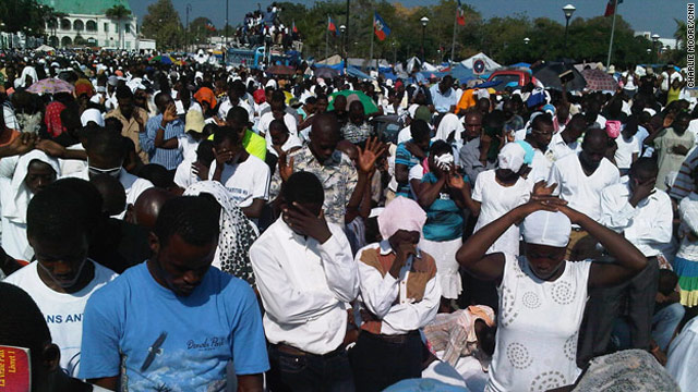 With prayers, cries and song, Haitians assemble in Port-au-Prince on Friday to remember the January 12 earthquake.