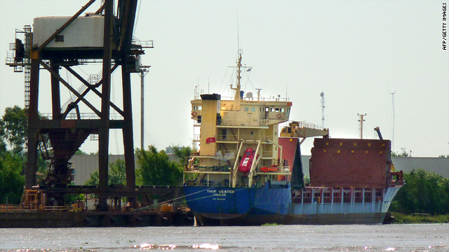 Argentinian authorities have prevented the Thor Leader, seen here at Campana on February 11, from leaving the port.
