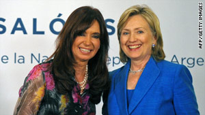 Argentine President Cristina Fernandez de Kirchner, left, poses with U.S. Secretary of State Hillary Clinton.