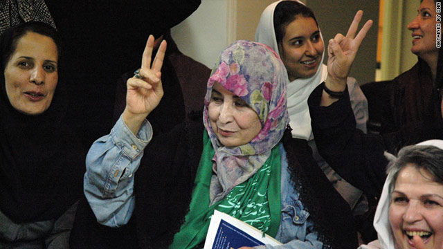 Zahra Rahnavard, wife of Iranian opposition leader Mir Hossein Moussavi, meets with women's rights activist in Tehran.
