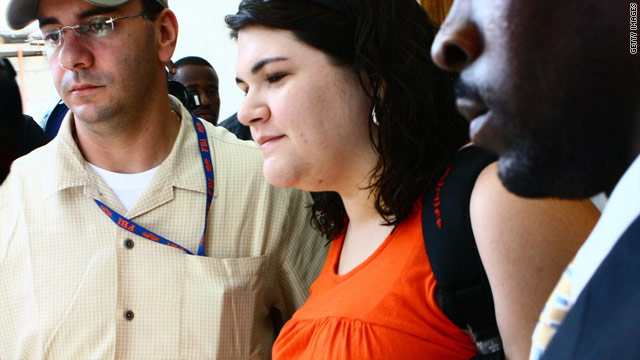 American missionary Charisa Coulter leaves a Port-au-Prince police station on Monday.