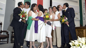 Couples celebrate their marriages in Mexico City, Mexico.