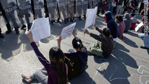 Demonstrators protested President Felipe Calderon's last visit to Juarez, the most violent city in Mexico.