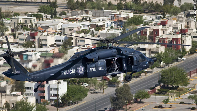 Mexican states along the U.S. border have seen some of the worst violence. This police helicopter flies over Juarez last week.