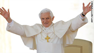 Pope Benedict XVI waves as he arrives in St. Peter's Square last month.