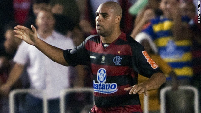 Flamengo striker Adriano missed out on a place in Brazil's squad for the World Cup in South Africa.