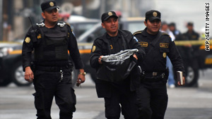 One of the severed heads was found in a plastic bag in front of the Congress building in Guatemala City.