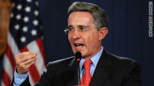 Colombian President Alvaro Uribe speaks at recent news conference.