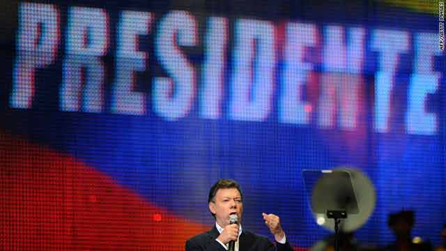 Colombian President-elect Juan Manuel Santos delivers a speech in Bogota on Sunday after the presidential election run-off.