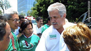Rodolfo Torre Cantu, a gubernatorial candidate in the Mexican state of Tamaulipas, campaigns earlier this month.