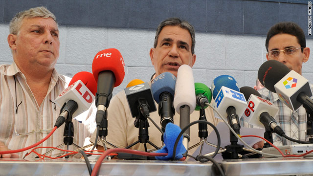 Cuban dissidents Ricardo Gonzalez Alfonso, left, Julio Cesar Galvez Rodriguez and Normando Hernandez Gonzalez give a news conference in Vallecas, Spain, on Monday.