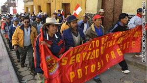 Road workers and miners  in Potosi, Bolivia, rally to protest against Evo Morales' government.
