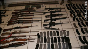 These guns were found at the Mexican ranch in Tamaulipas state, where 72 bodies were discovered.