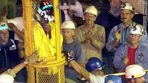 The ninth and final miner is removed from the Quecreek mine in Pennsylvania on July 28, 2002, after five days of captivity.