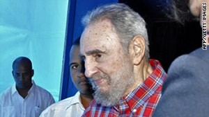 Former leader Fidel Castro visited Cuba's National Aquarium in Havana on Monday.