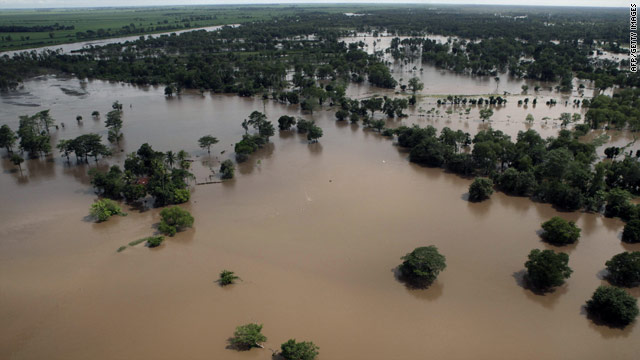 An aerial view shows flooding south of Guatemala City. More than 40 people reportedly have died in heavy rains and landslides.