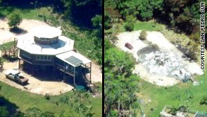 A building on Cherie and Vince Rose's 36-acre sanctuary before and after an angry mob torched it on Sunday.