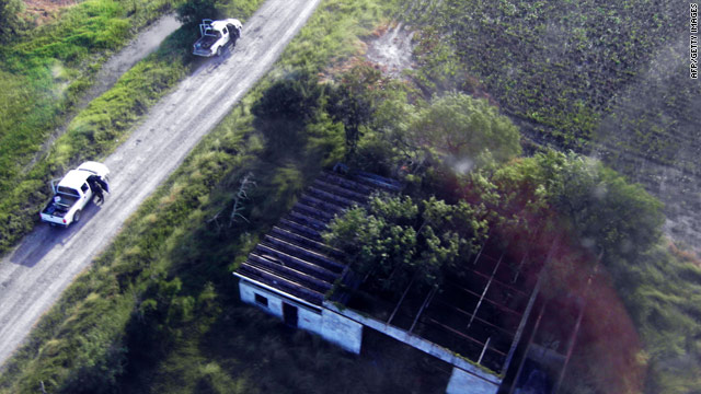 The site in San Fernando, Tamulipas state, Mexico, where the bodies of 72 migrants were found on August 25, 2010.
