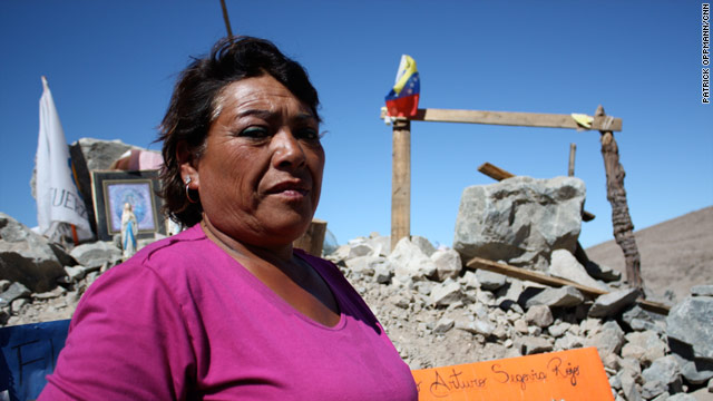 Maria Segovia shares a tent with her sister in the campsite above where her brother and 32 other miners are trapped.
