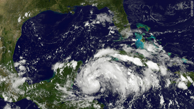 In this handout satellite image provided by the NOAA-NASA GOES Project, Tropical Storm Karl  forms over the northwestern Caribbean Sea Tuesday as seen from space.
