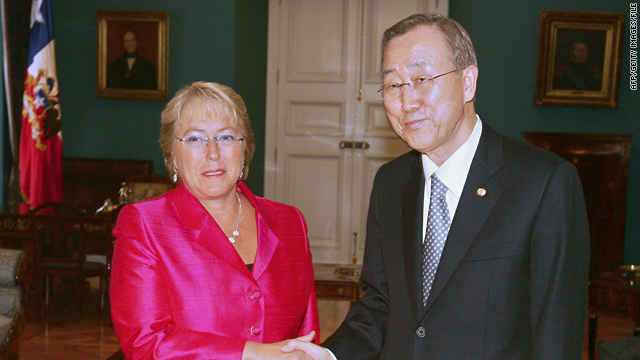 Chile's then-President Michelle Bachelet shakes hands with U.N. chief Ban Ki-moon at La Moneda palace in Santiago on March 5.