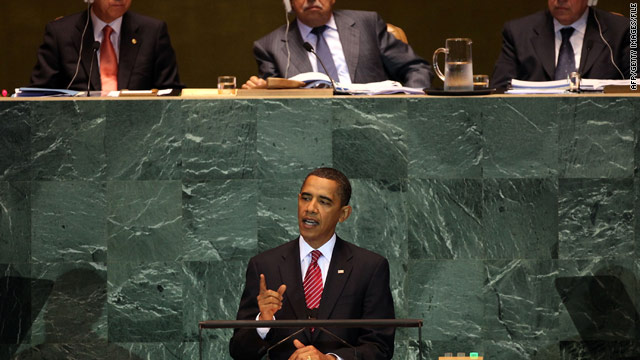 President Obama addresses the U.N. General Assembly in September 2009.