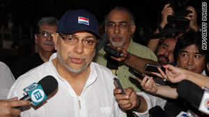 Paraguayan President Fernando Lugo speaks to reporters in Asuncion last month.