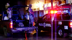 Soldiers and police officers went to the sqaure in Guadalupe, Mexico, after the grenade exploded Saturday night.