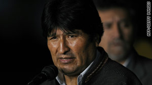 Bolivian President Evo Morales was playing in a soccer match when he reacted to someone who had fouled him.