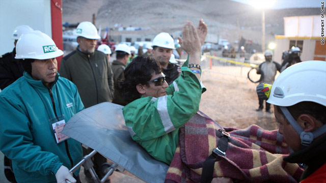 Claudio Ya�ez, 34, is the eighth miner to be rescued at the San Jose mine Wednesday.