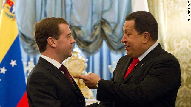 Russian President Dmitry Medvedev meets his Venezuelan counterpart Hugo Chavez in Moscow, October 15, 2010.