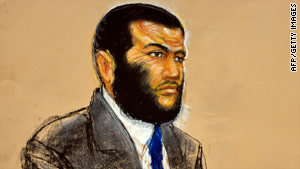 This sketch shows Omar Khadr listening during his military commission trial at Guantanamo Bay, Cuba.