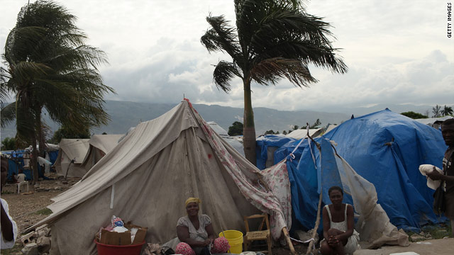 Storm clouds gather Wednesday over a camp in Port-au-Prince, Haiti, for people who lost their homes in January's earthquake.