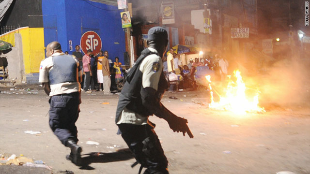 Protests break out in Port-au-Prince as the initial results of a disputed election were announced.