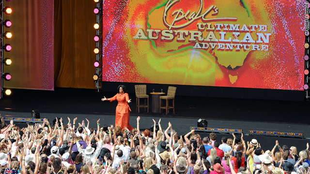 Oprah's eight-day trip began last week and ends with two taped shows at the Sydney Opera House