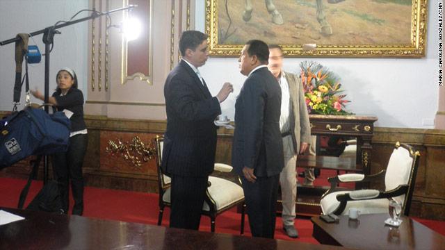 Juan Carlos Lopez, correspondent for CNN en Español , interviews President Hugo Chavez in Caracas, Venezuela, in May.