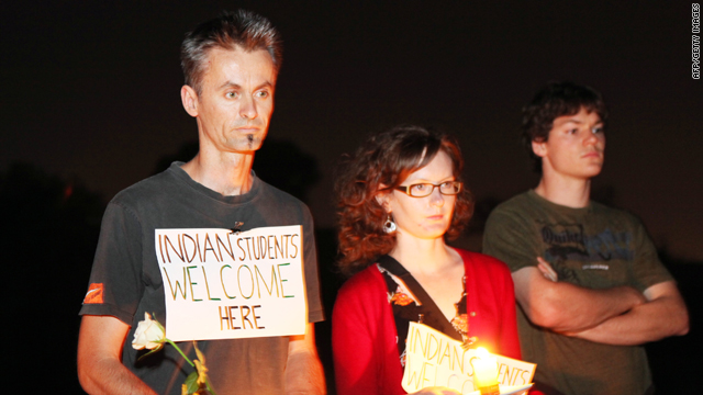 People take part in a candle lit vigil in the western suburbs of Melbourne on January 4, 2010 where Indian student Nitin Garg was fatally stabbed on January 2, 2010.