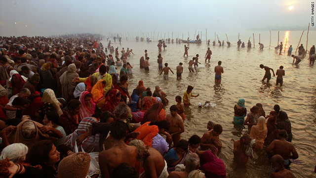 Hindu pilgrims bathe during the Kumbh Mela festival in January 2007. They believe it washes away their sins.