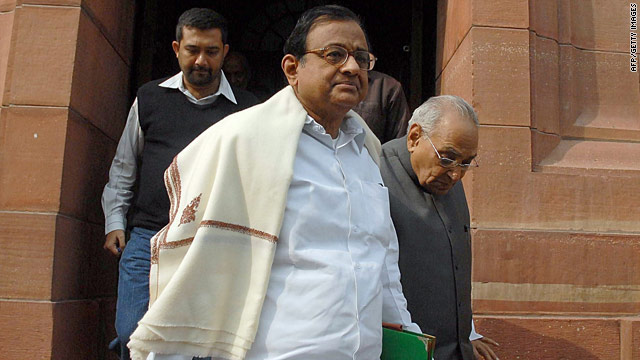 Indian Home Minister P. Chidambaram leaves parliament in New Delhi on November 23, 2009.