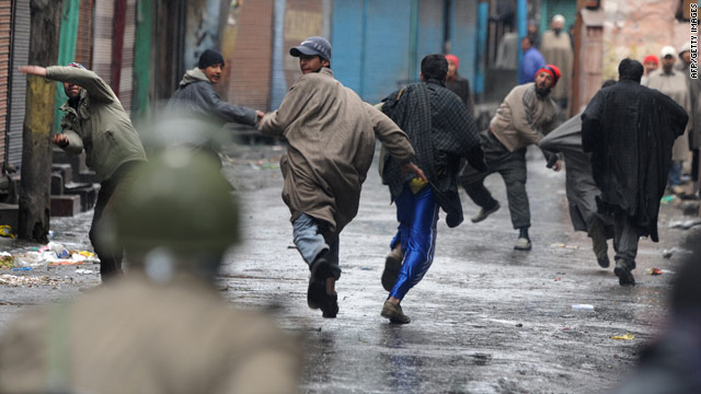 Protesters clash with police in Srinagar on February 5, 2010, after the death of a second teenager blamed on Indian forces.