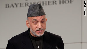 Afghan President Hamid Karzai speaks in Munich, Germany, on Sunday.
