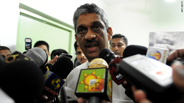 Sri Lanka's former army chief and presidential candidate general Sarath Fonseka addresses the media on February 3 in Colombo.
