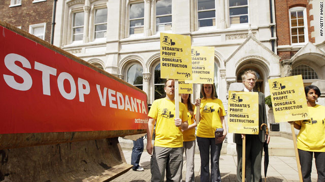 Protesters gather for a demonstration against Vedanta, during the company's AGM in London, on July, 27, 2009.