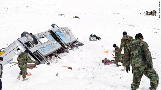 Afghan National Army soldiers search for bodies in the snow Wednesday after avalanches struck in Parwan province.