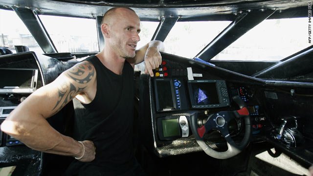 "File photo of Pete Bethune taken in 2006. He was captain of the ""Ady Gill"" boat, which sank after a Japanese whaler rammed into it in January, said the Sea Shepherd Conservation Society."