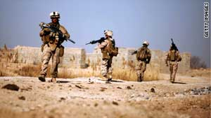 U.S. Marines patrol farmland northeast of Marjah in Afghanistan's Helmand province.