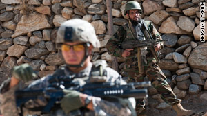 Coalition forces search for insurgents in the mountains in Afghanistan's Kunar province.